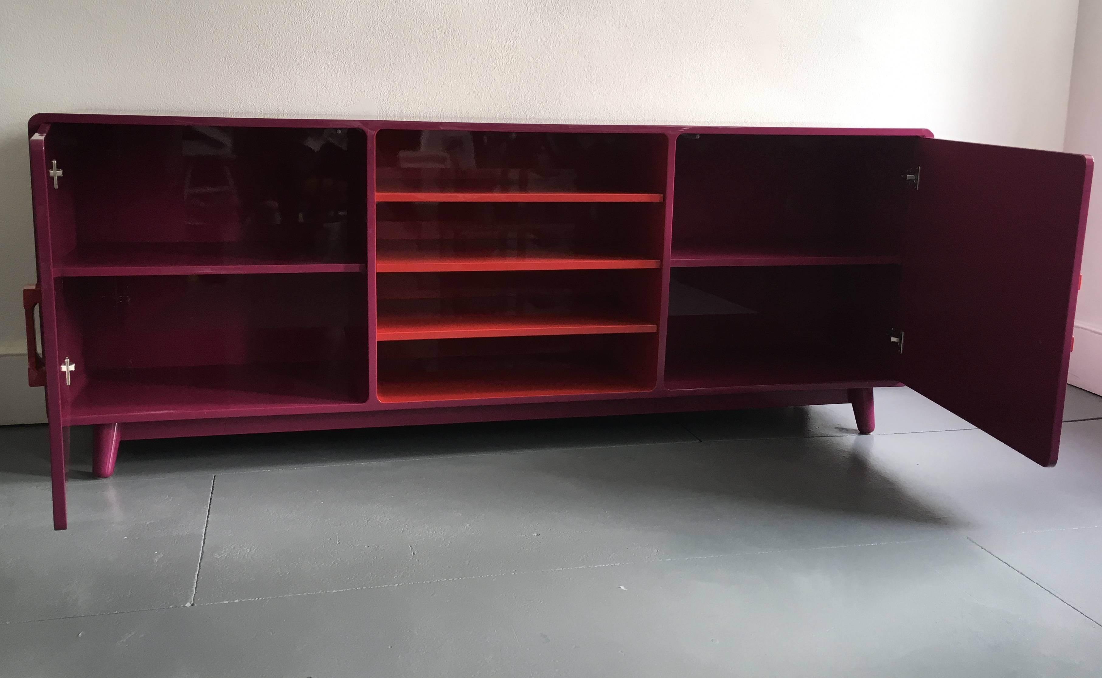 60's Inspired High Gloss Lacquered Sideboard In Hot Pink And Red Throughout Red High Gloss Sideboards (Photo 18 of 30)