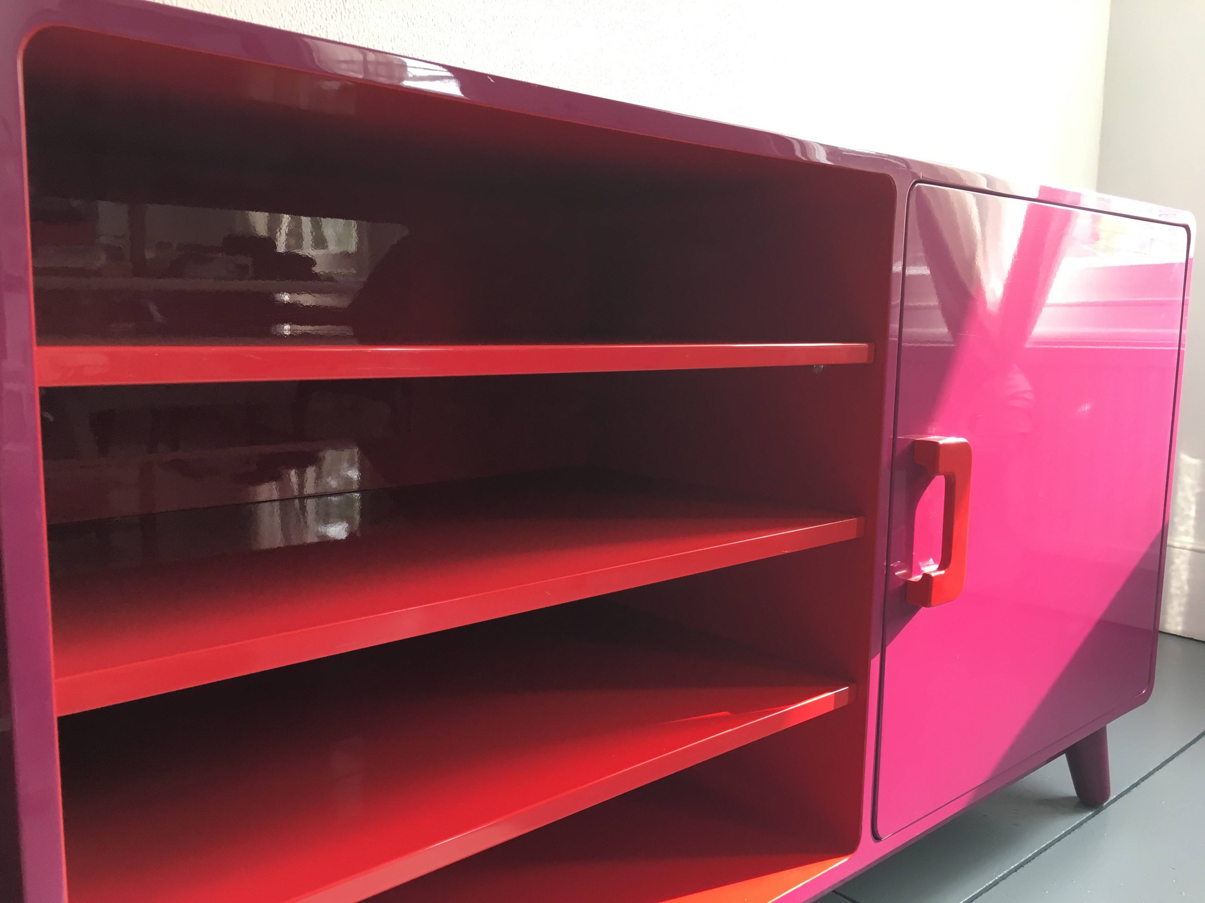 60's Inspired High Gloss Lacquered Sideboard In Hot Pink And Red with regard to Red High Gloss Sideboards (Image 7 of 30)