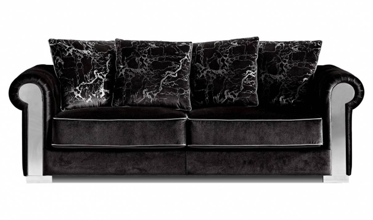 627 Electra Living Room Set In Black Velvetmeridian Furniture with regard to Black Velvet Sofas (Image 2 of 30)