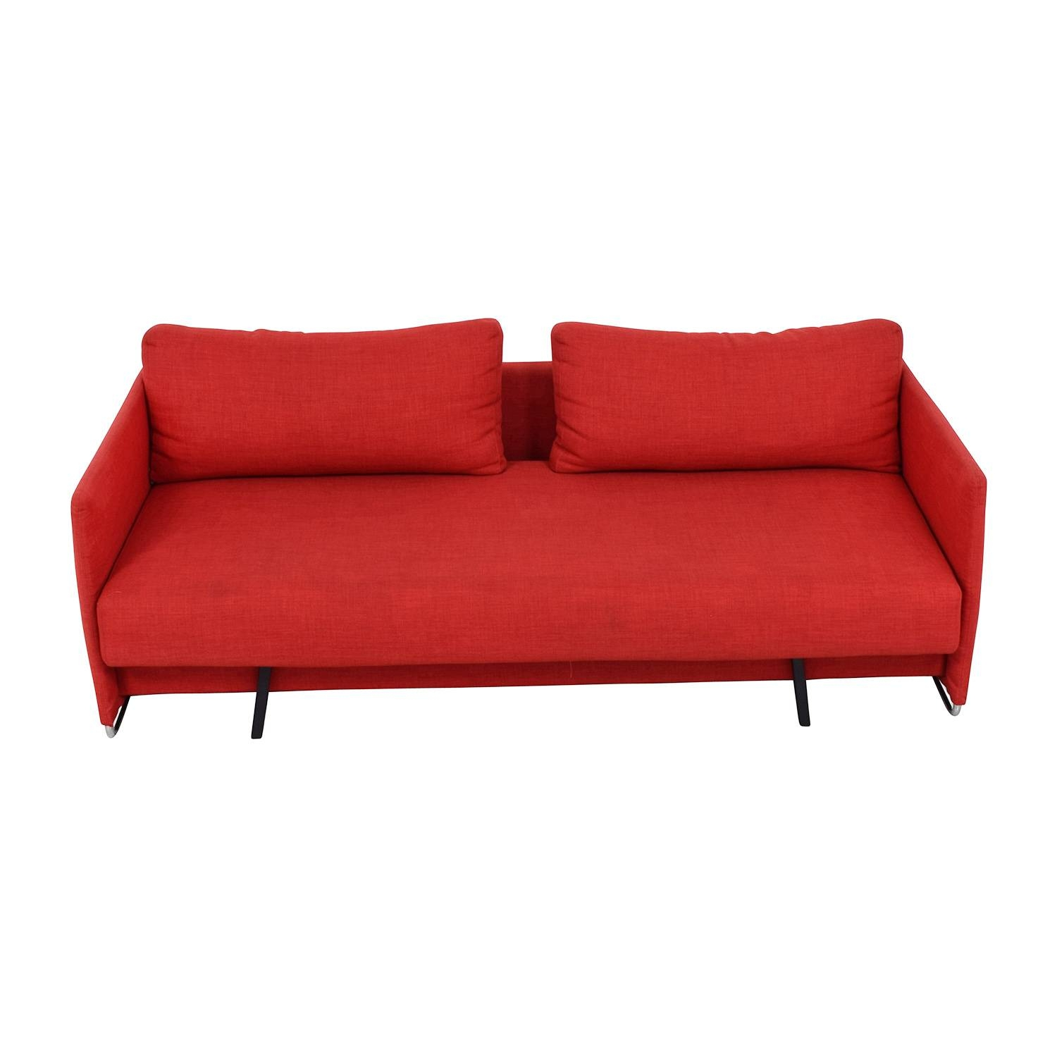 63% Off - Cb2 Cb2 Tandom Red Sleeper Sofa / Sofas within Red Sleeper Sofa (Image 1 of 30)