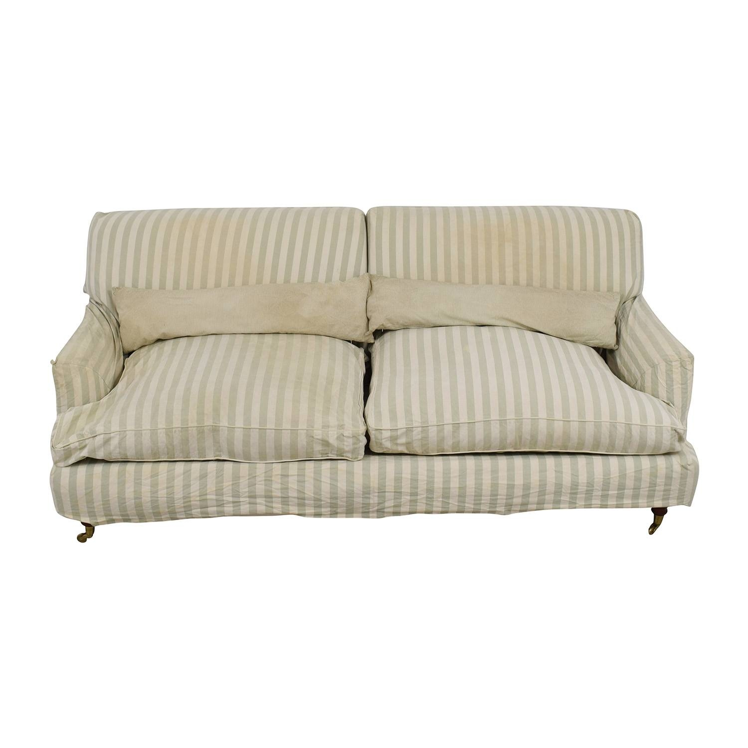 66% Off – Green And White Striped English Roll Arm Sofa / Sofas For Classic English Sofas (View 2 of 30)