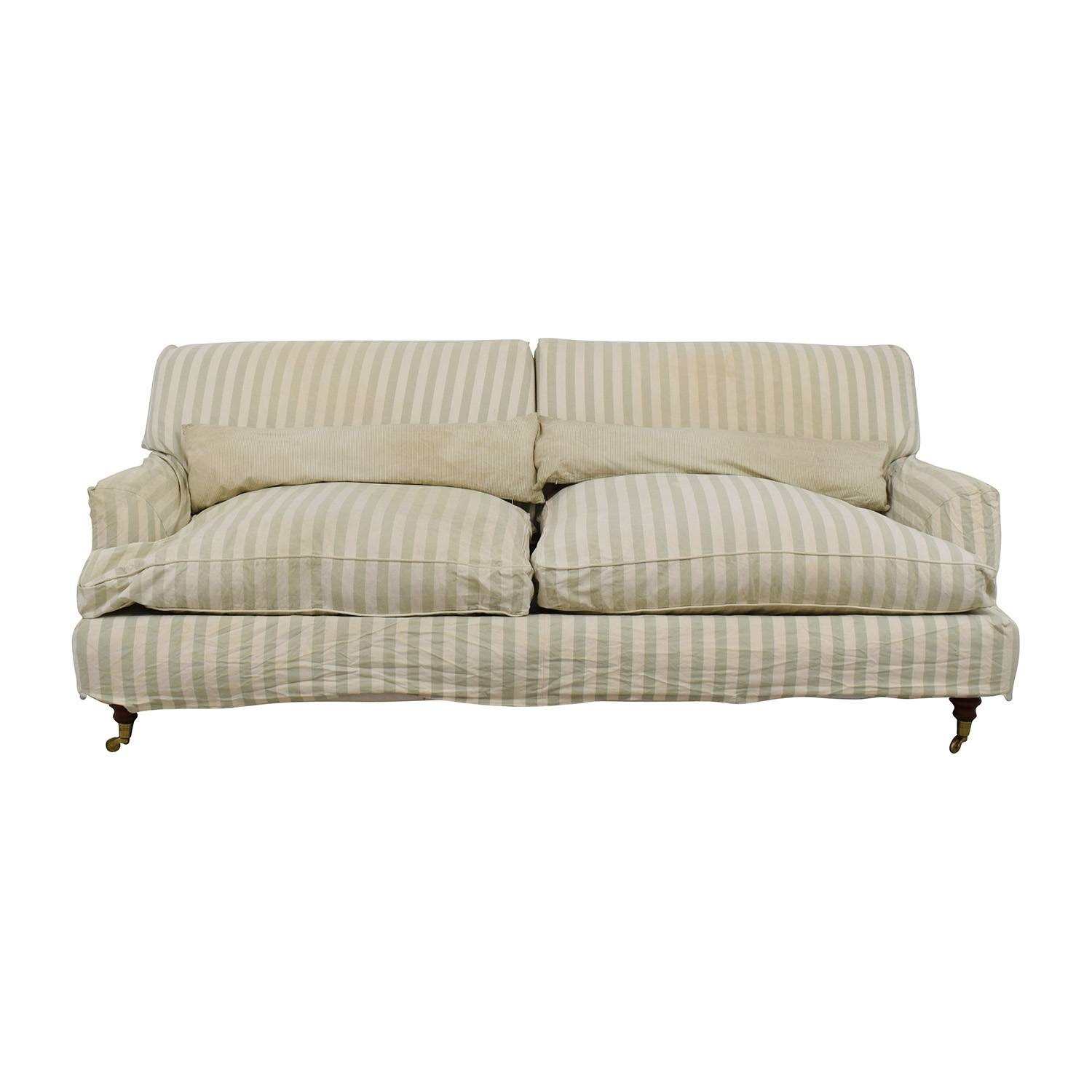 66% Off – Green And White Striped English Roll Arm Sofa / Sofas For Classic English Sofas (View 1 of 30)