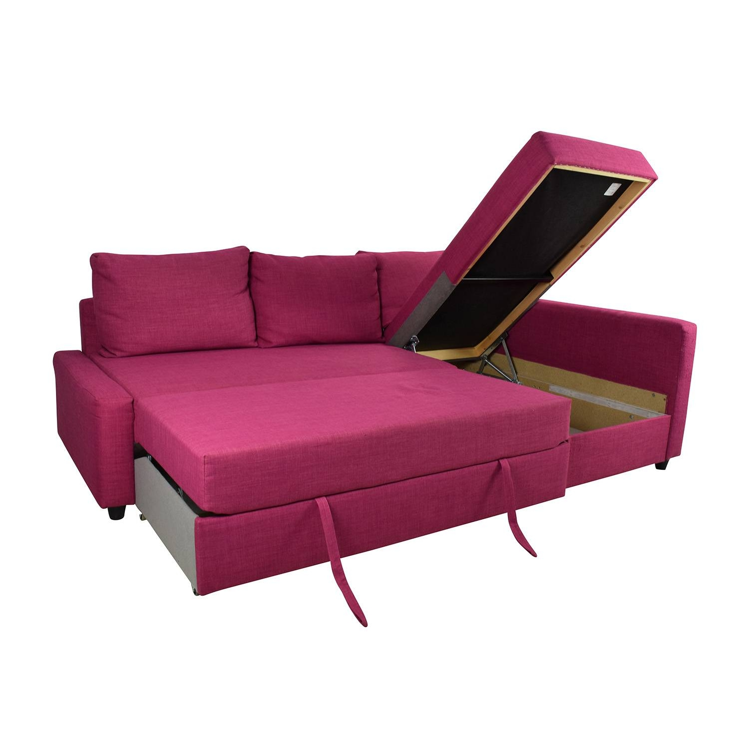 66% Off - Ikea Ikea Friheten Pink Sleeper Sofa / Sofas inside Red Sectional Sleeper Sofas (Image 5 of 30)
