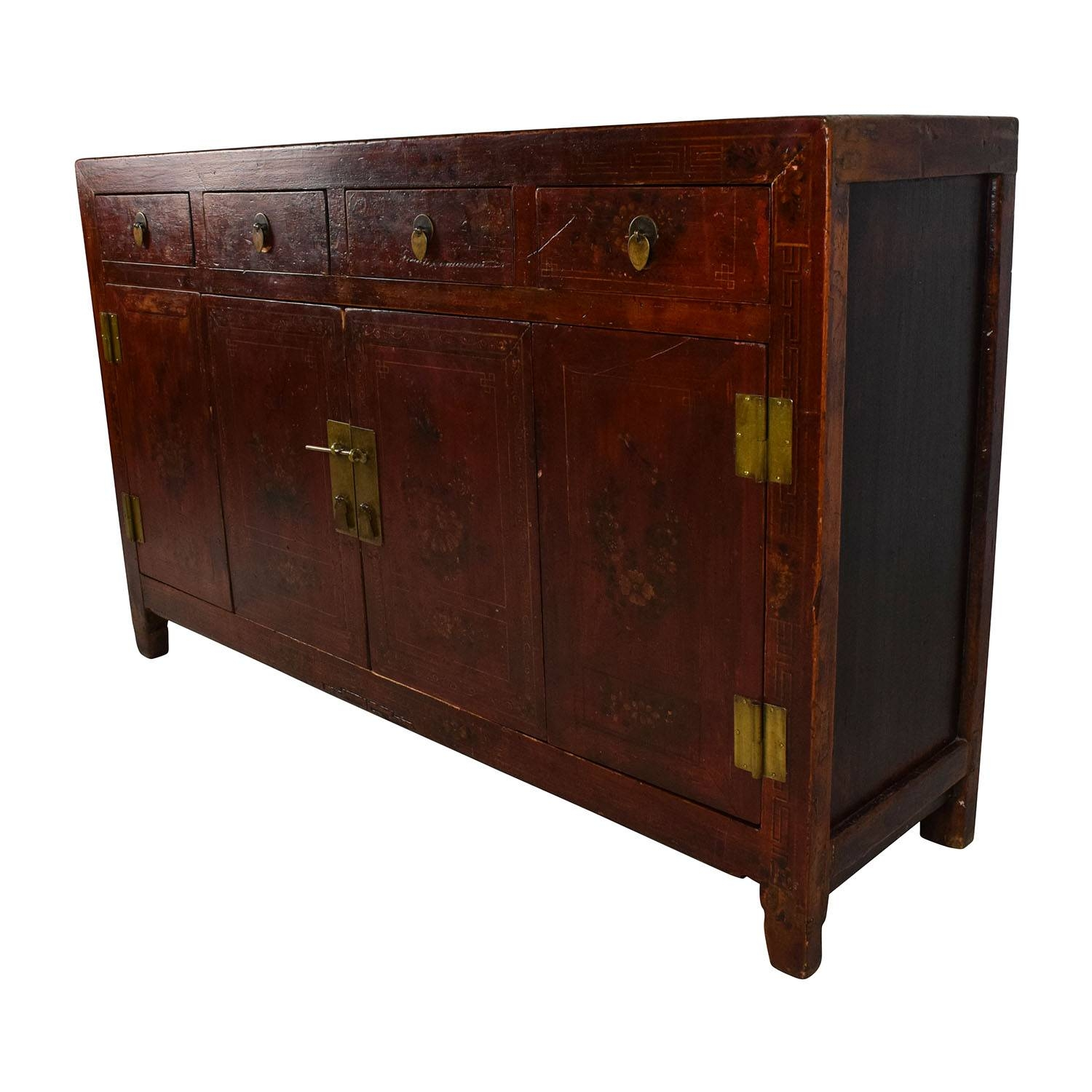 66% Off - Solid Wood Southeast Asian Credenza / Storage inside Asian Sideboards (Image 6 of 30)