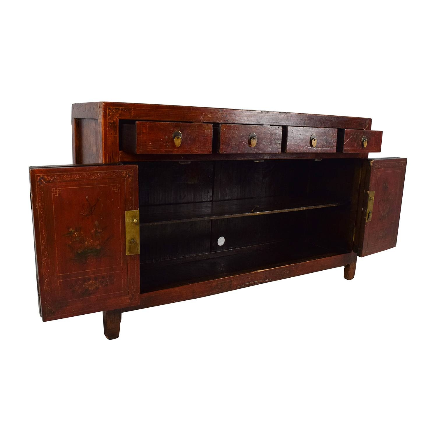 66% Off - Solid Wood Southeast Asian Credenza / Storage intended for Asian Sideboards (Image 8 of 30)
