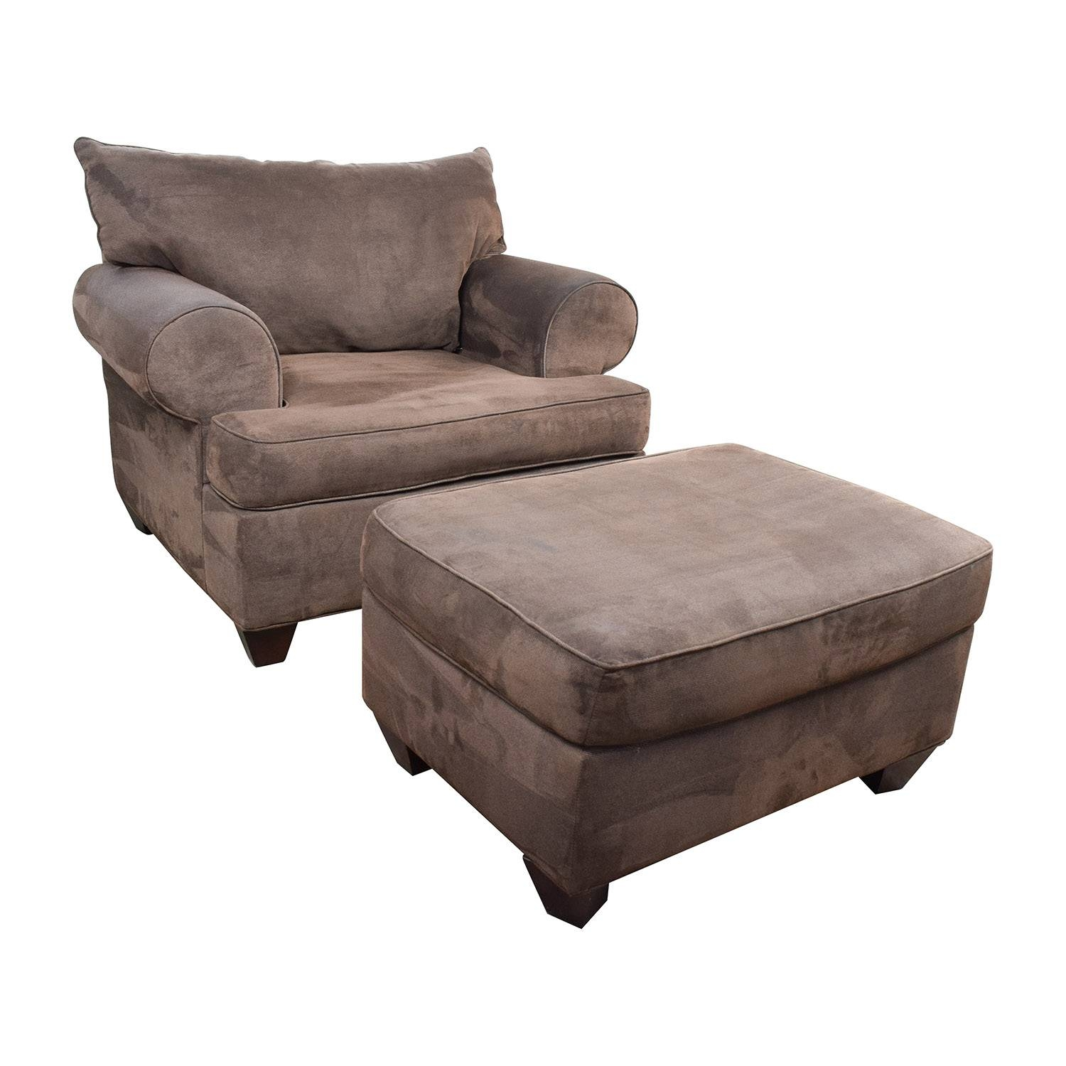 67% Off - Dark Brown Sofa Chair With Ottoman / Chairs pertaining to Sofa Chair With Ottoman (Image 2 of 30)