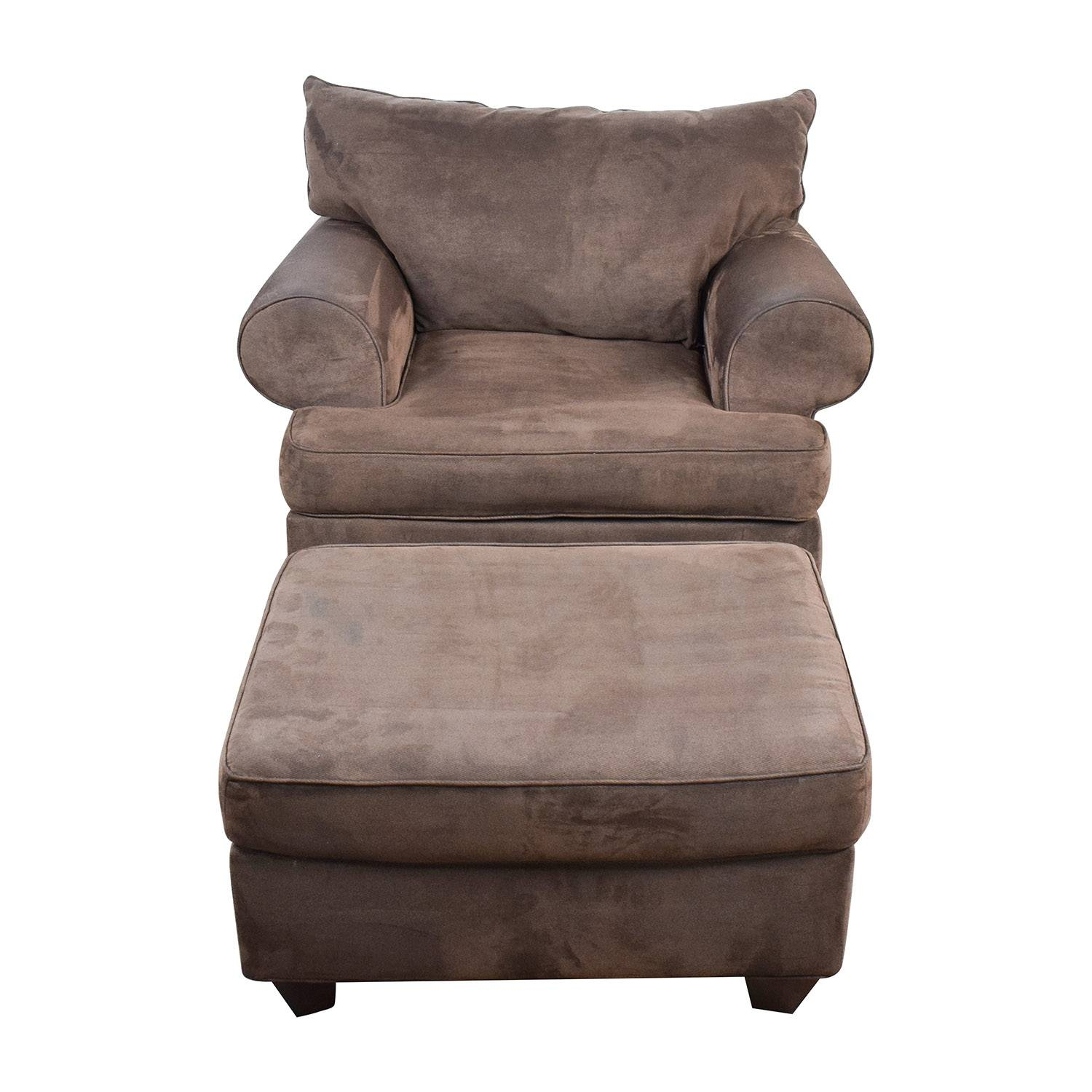 67% Off - Dark Brown Sofa Chair With Ottoman / Chairs regarding Sofa Chair With Ottoman (Image 4 of 30)