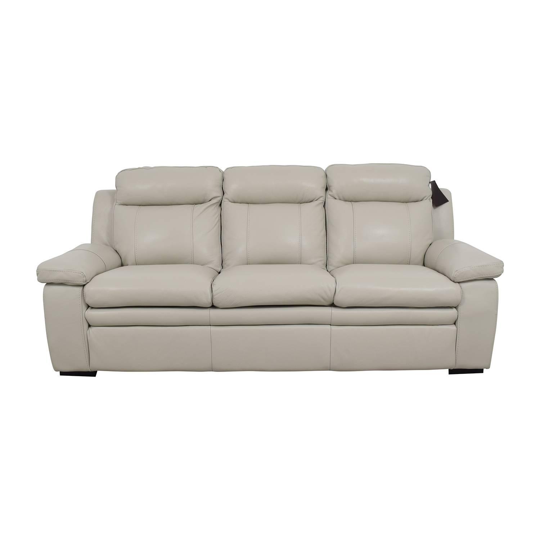 67% Off - Macy's Macy's Zane White Leather Sofa / Sofas regarding Macys Sofas (Image 5 of 25)
