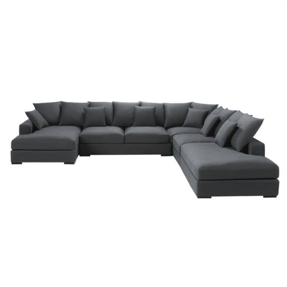 7 Seater Cotton Modular Corner Sofa In Grey Loft | Maisons Du Monde Inside Modular Corner Sofas (Photo 3 of 30)