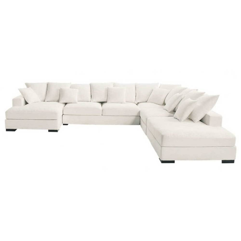 7 Seater Cotton Modular Corner Sofa In Ivory Loft | Maisons Du Monde for Modular Corner Sofas (Image 4 of 30)