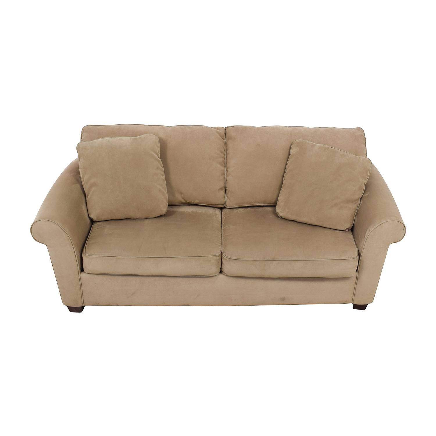 70% Off - Bauhaus Bauhaus Microfiber Tan Oversized Couch / Sofas intended for Bauhaus Sleeper Sofa (Image 5 of 30)