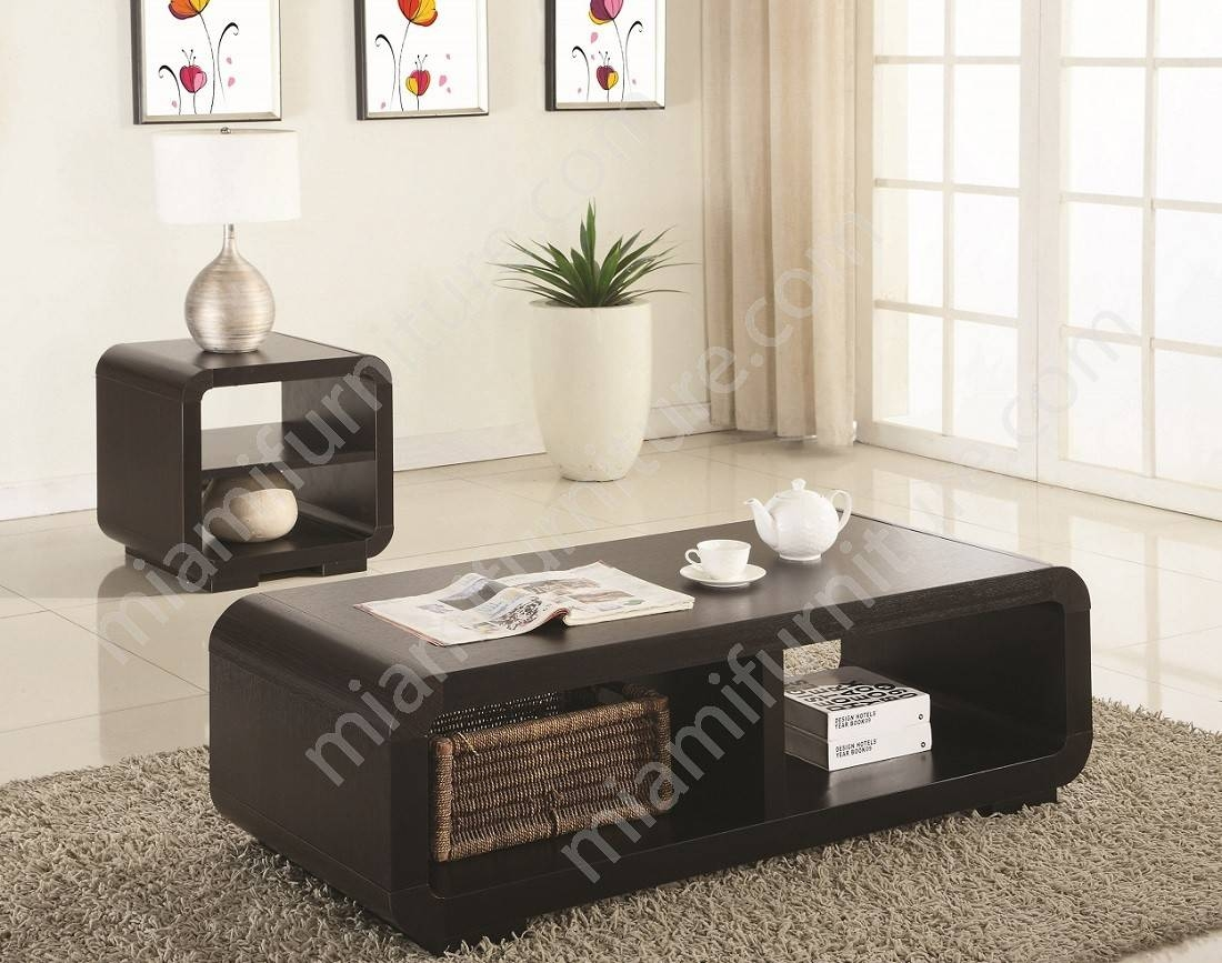 700794 Brooks Cappuccino 2-Piece Coffee Table Set - Miami Furniture with 2 Piece Coffee Table Sets (Image 2 of 30)