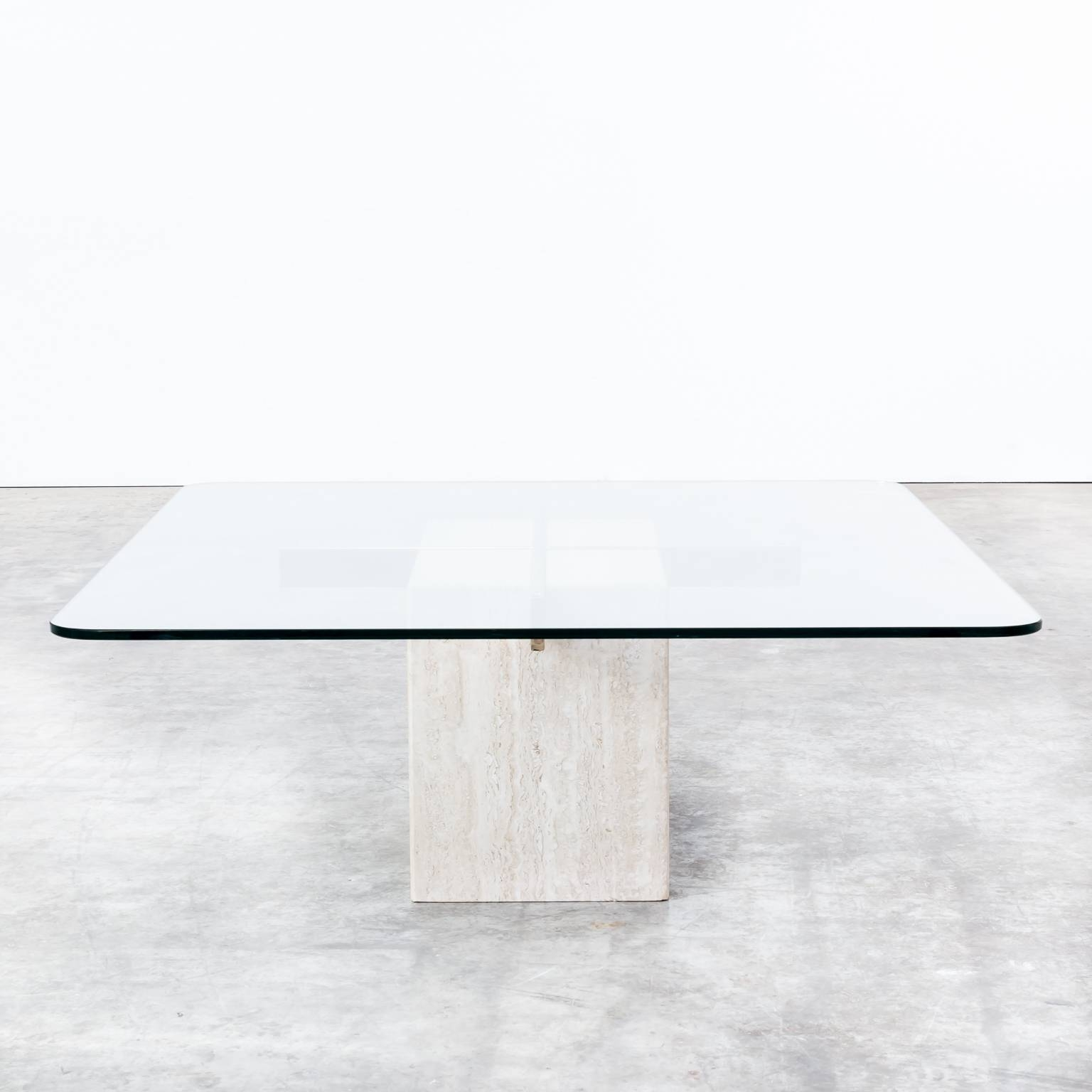 70S Artedi Italian Travertine Base, Glass Top Coffee Table | Barbmama intended for White Retro Coffee Tables (Image 3 of 30)
