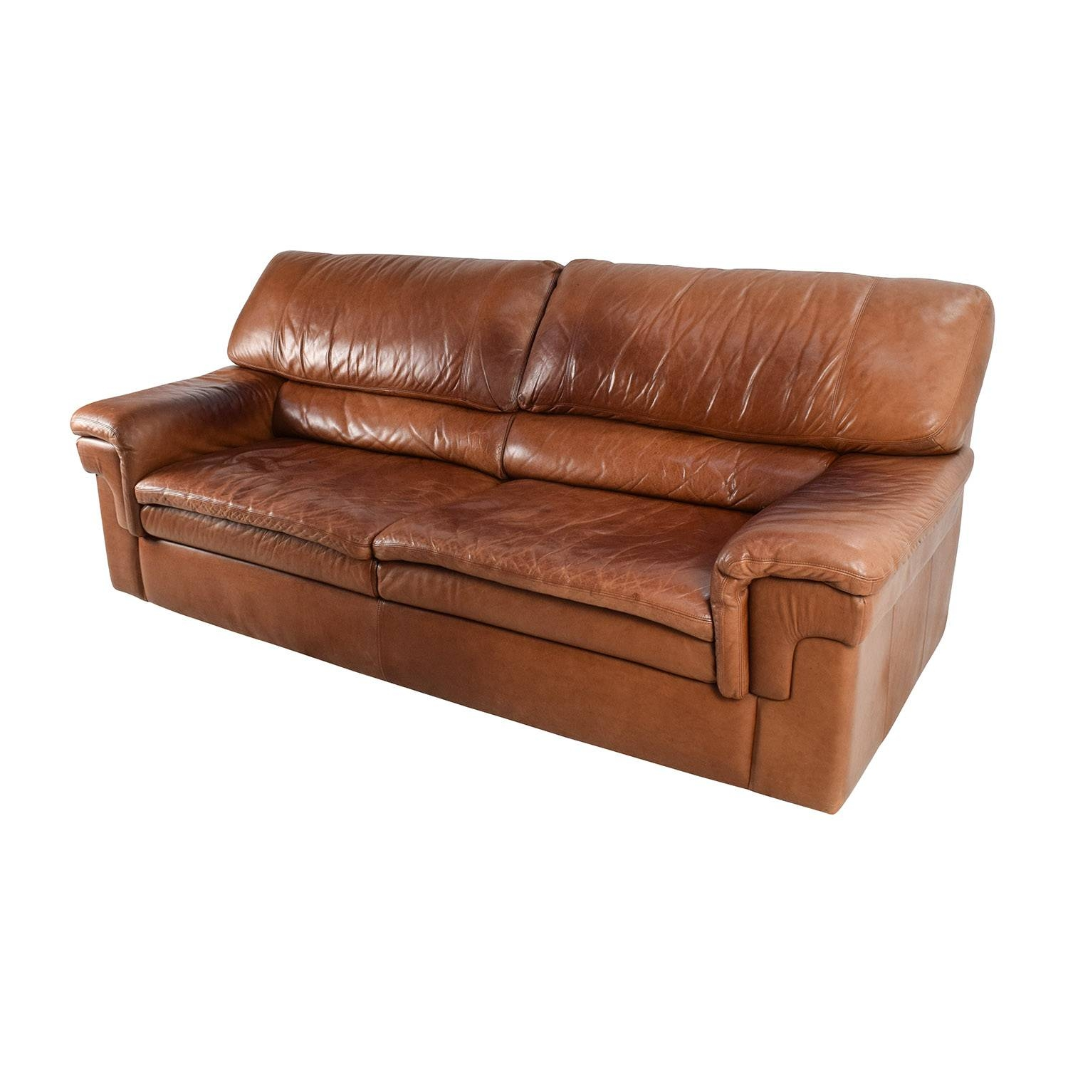 71% Off - Classic Cherry Brown Leather Sofa / Sofas intended for Classic Sofas for Sale (Image 8 of 30)
