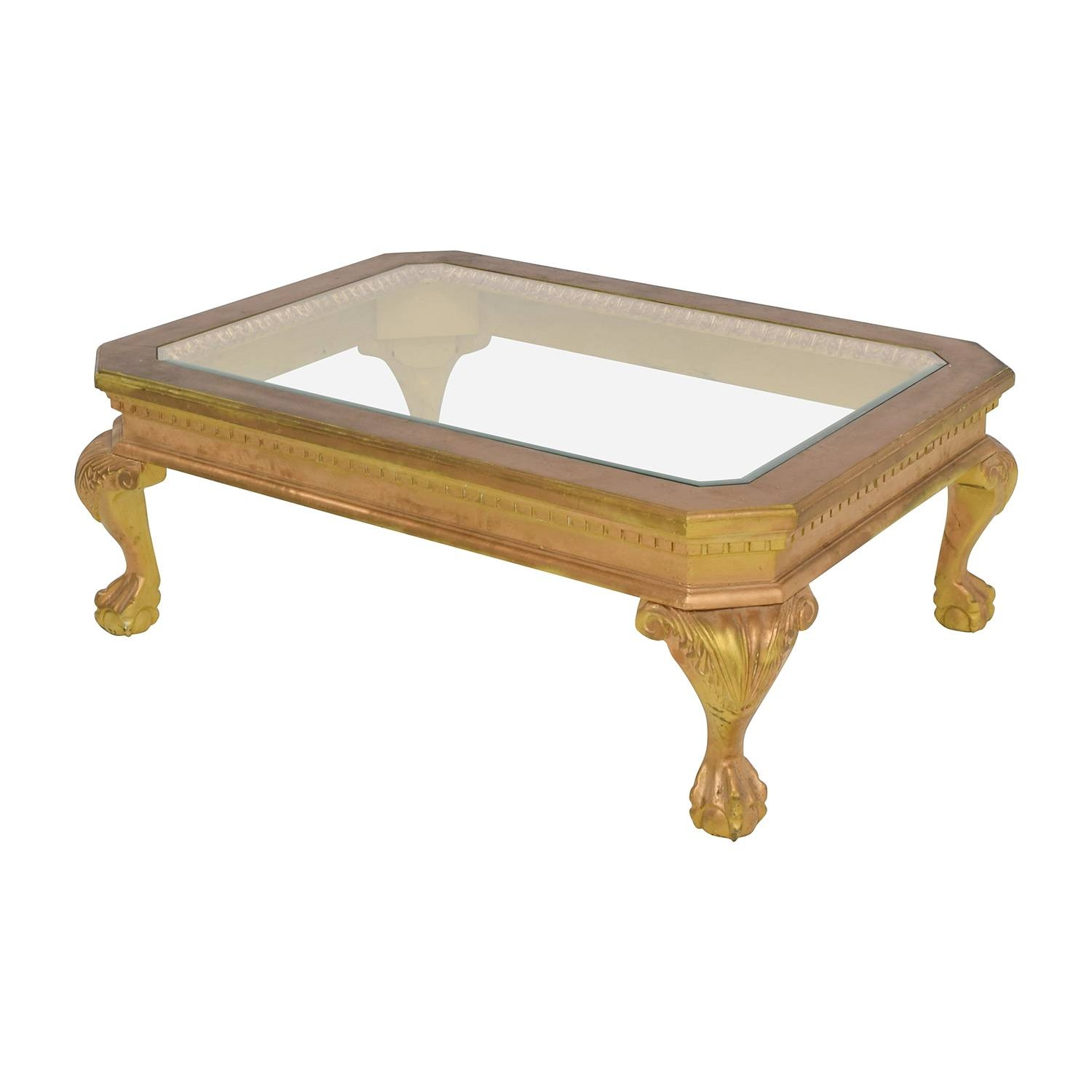 75% Off - Distressed Wood Antique Gold And Glass Coffee Table / Tables in Antique Glass Coffee Tables (Image 1 of 30)