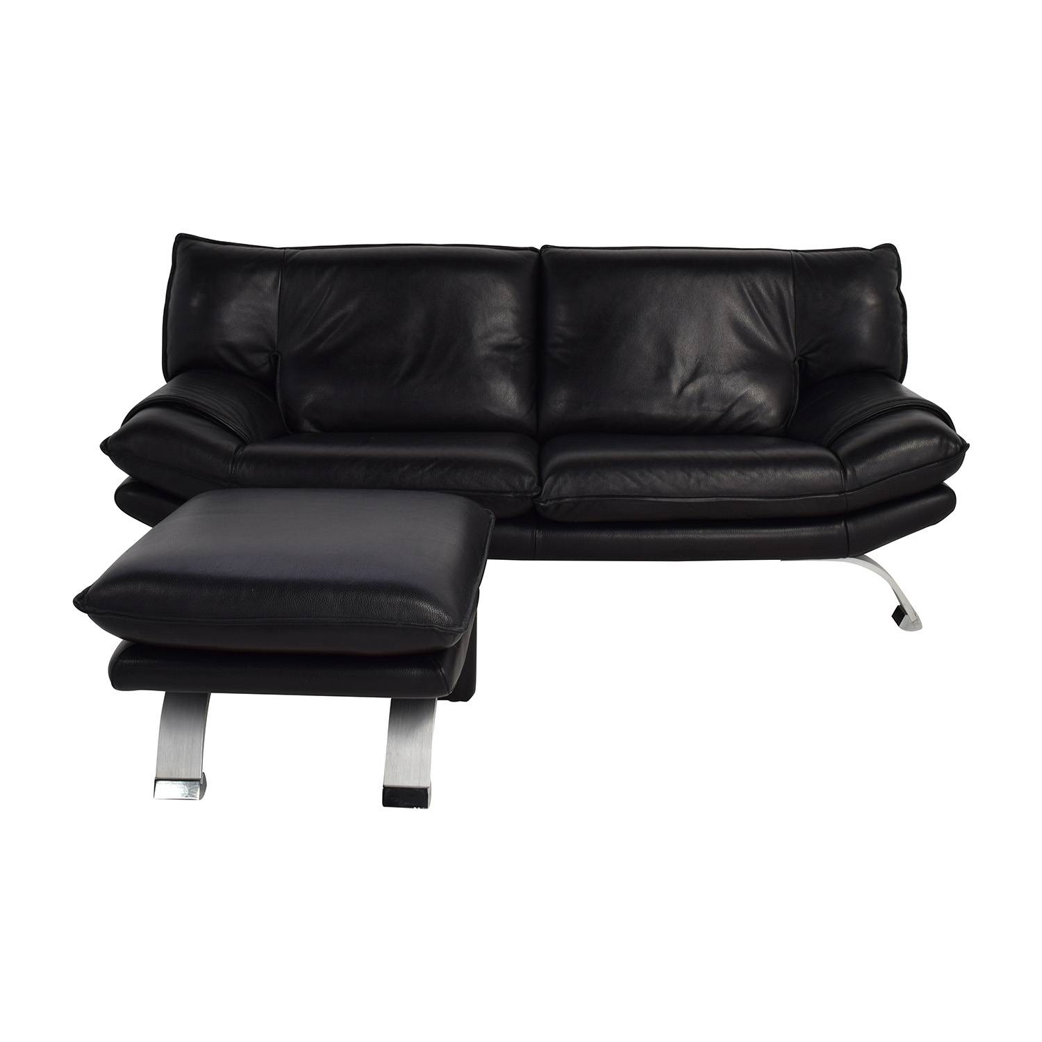 76% Off - Nicolletti Nicolletti Black Leather Sofa And Ottoman / Sofas inside Classic Sofas For Sale (Image 9 of 30)