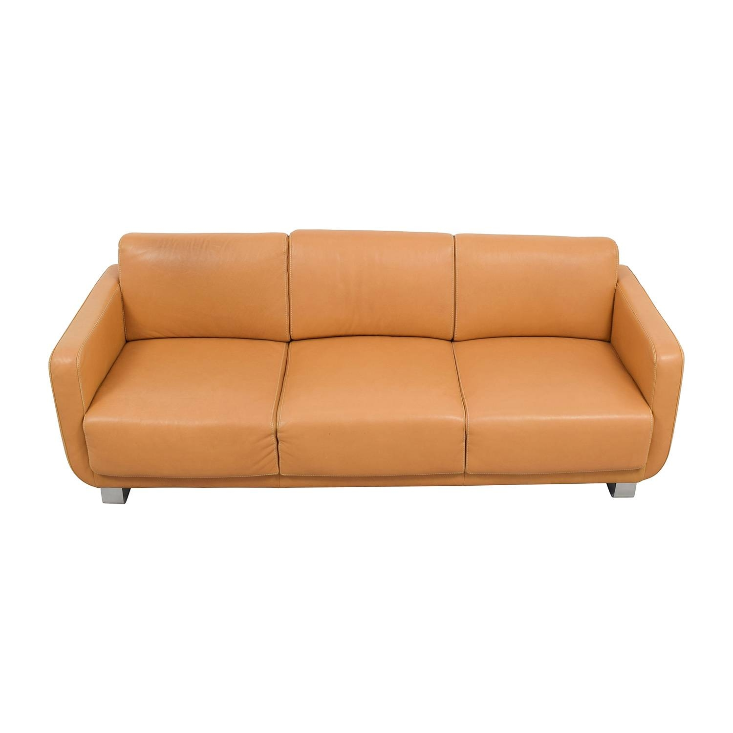 76% Off - Nicolletti Nicolletti Black Leather Sofa And Ottoman / Sofas throughout Classic Sofas for Sale (Image 10 of 30)
