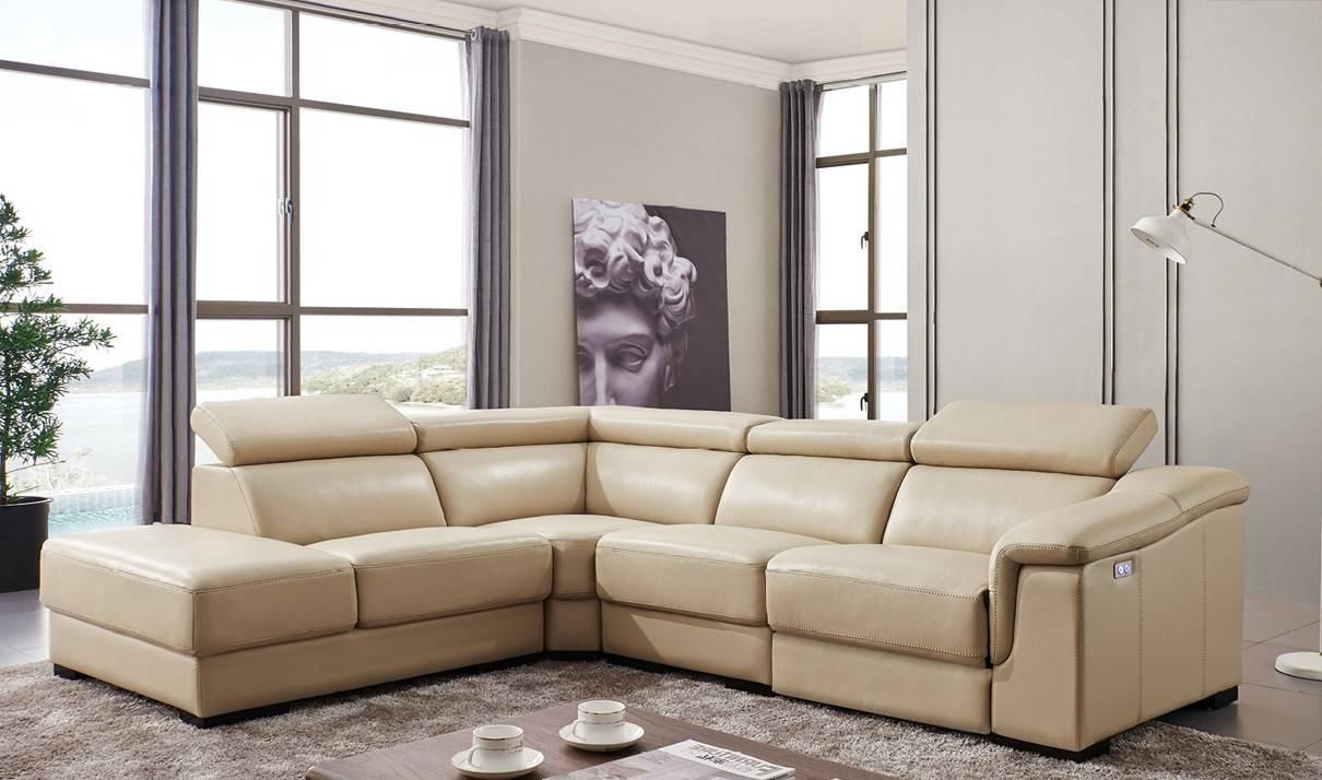 760 Leather Sectional Sofa W/electric Recliner In Beige | Free In Sectional Sofas With Electric Recliners (Photo 8 of 30)