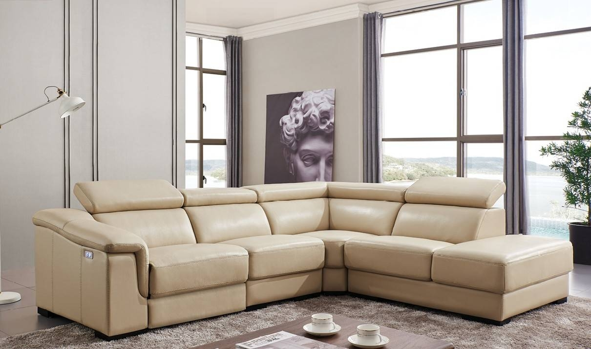 760 Leather Sectional Sofa W/electric Recliner In Beige | Free With Regard To Sectional Sofas With Electric Recliners (Photo 7 of 30)