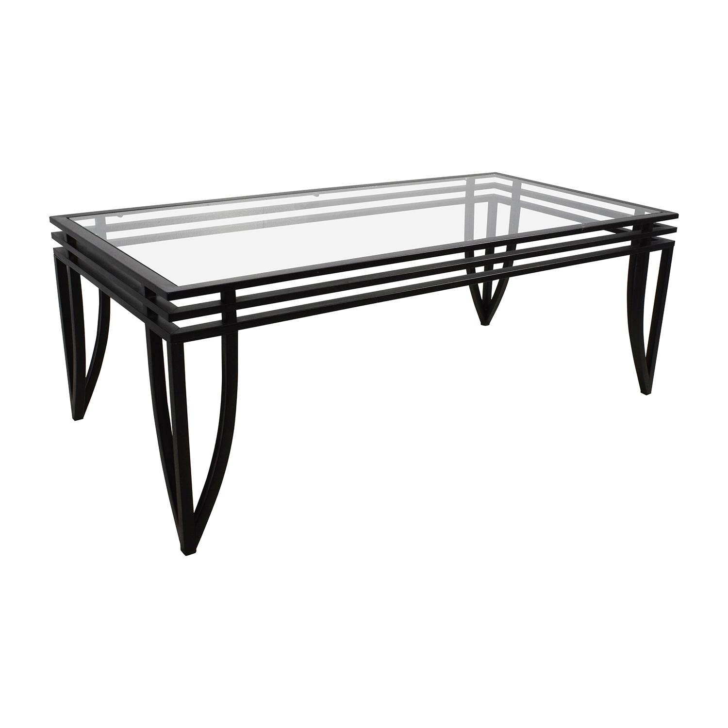 77% Off - Ashley Furniture Ashley Furniture Rectangular Glass And pertaining to Black Coffee Tables (Image 1 of 30)