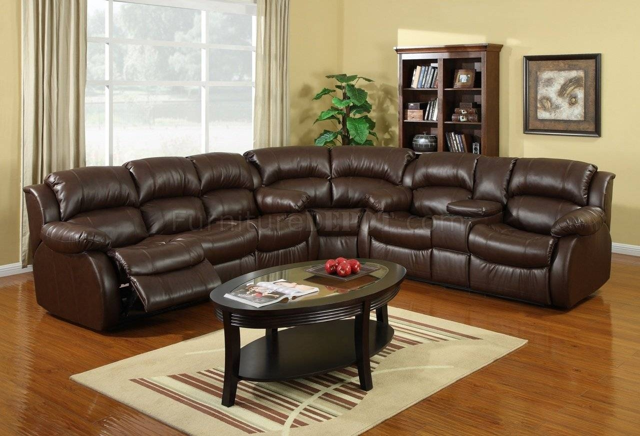 8002 Reclining Sectional Sofa In Brown Bonded Leather for Recliner Sectional Sofas (Image 1 of 30)
