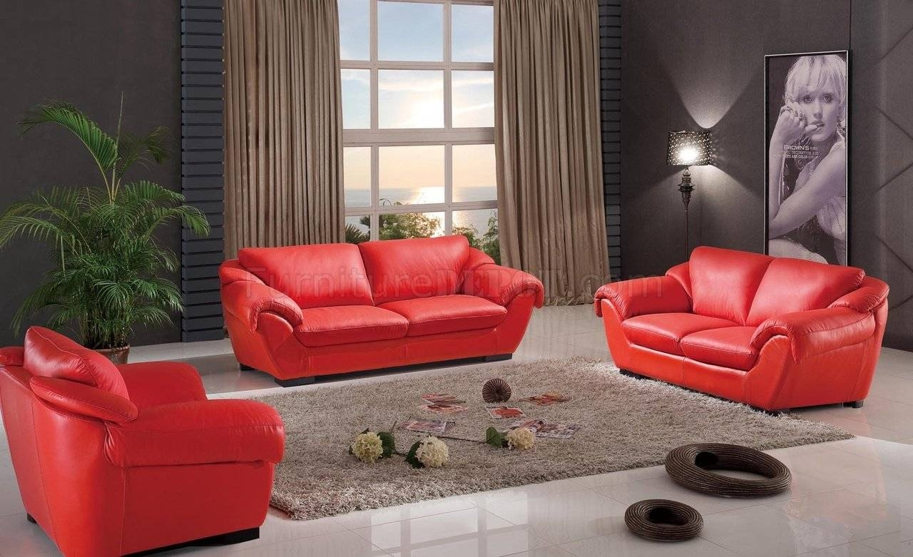8080 Sofa In Red Leatheresf W/optional Loveseat & Chair with Red Sofas And Chairs (Image 1 of 30)
