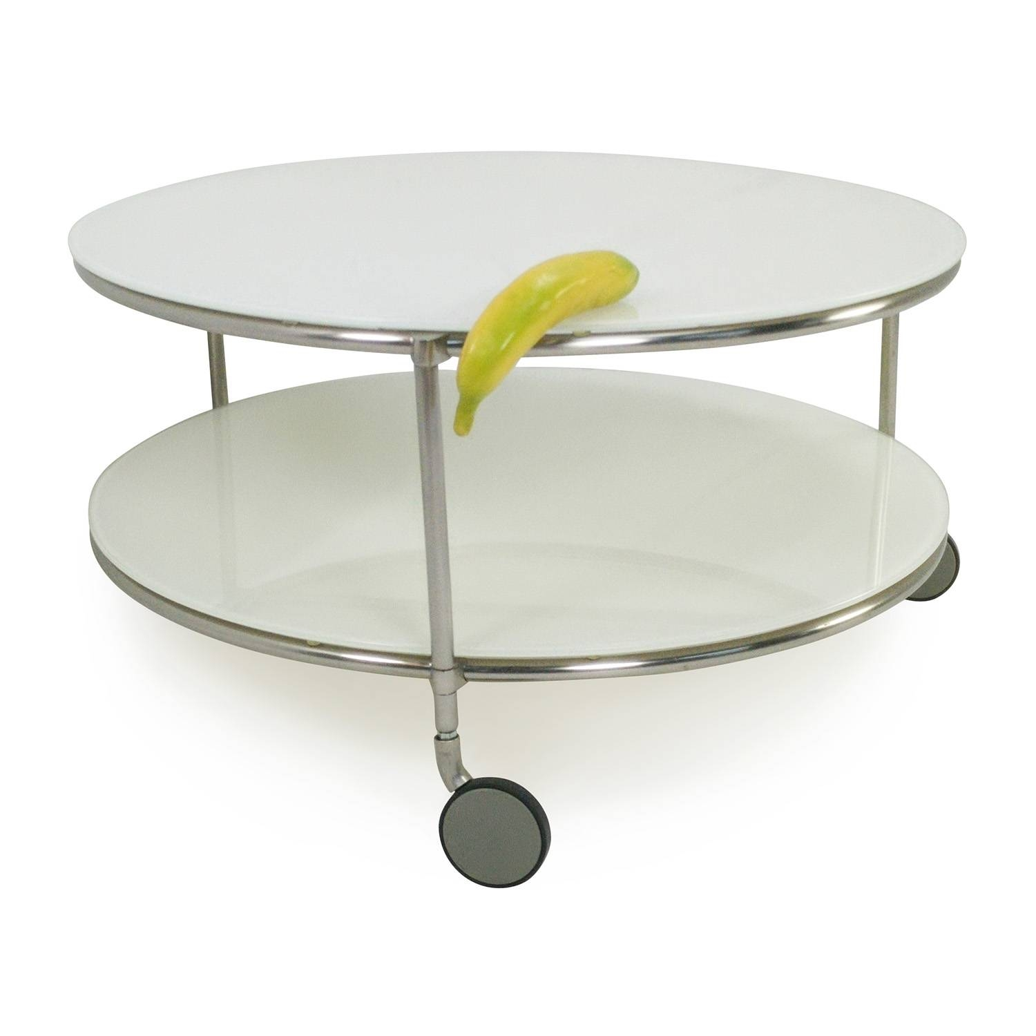 82% Off   Ikea String Coffee Table With Casters / Tables Regarding Glass Coffee Tables With Casters (Photo 29 of 30)