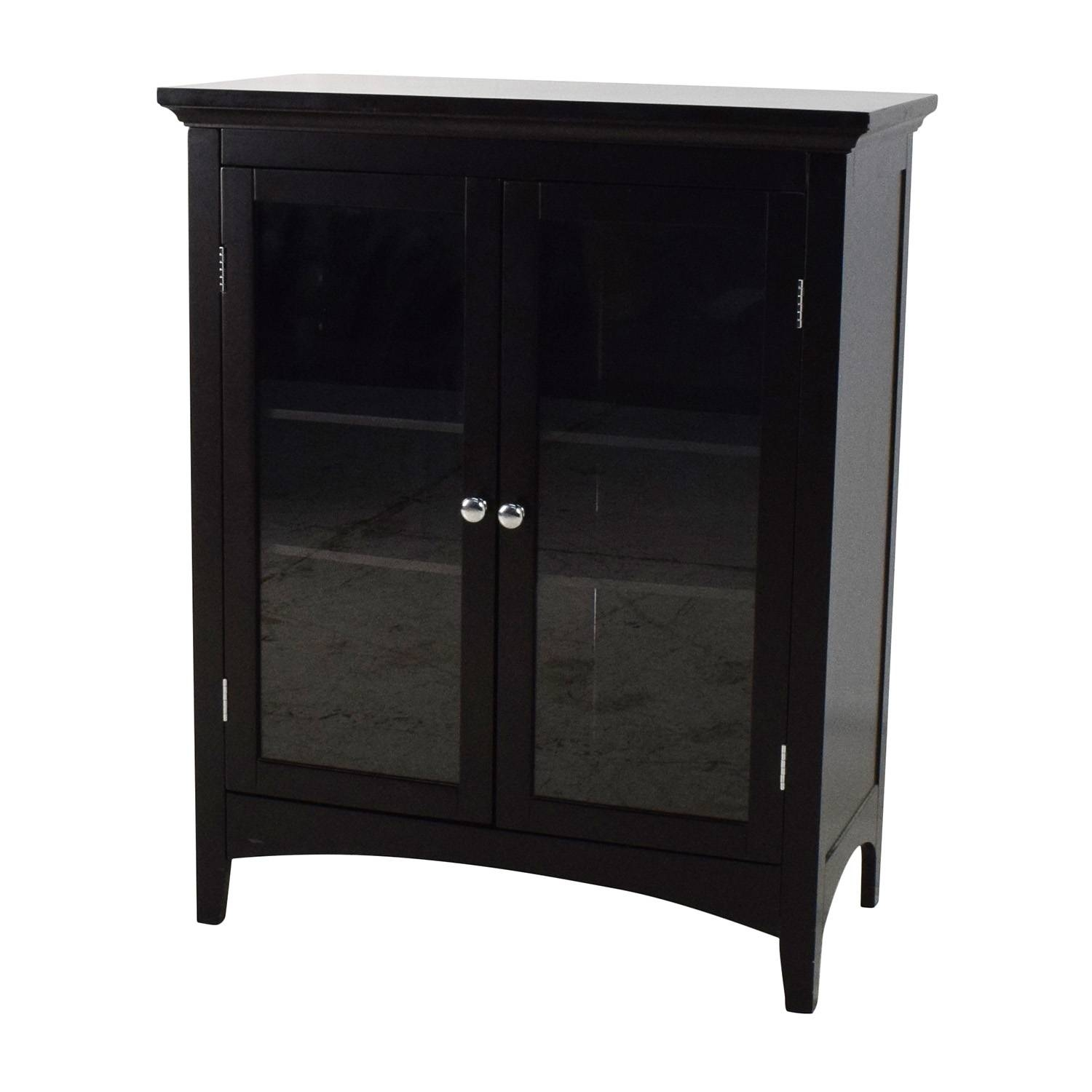 89% Off - Dark Brown Glass Door Cabinet / Storage regarding Glass Sideboards (Image 3 of 30)