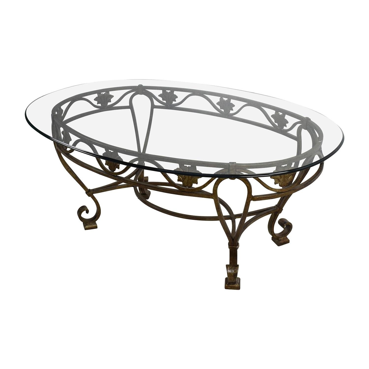 90% Off - Iron Cast Glass Top Antique Coffee Table / Tables in Antique Glass Top Coffee Tables (Image 1 of 30)