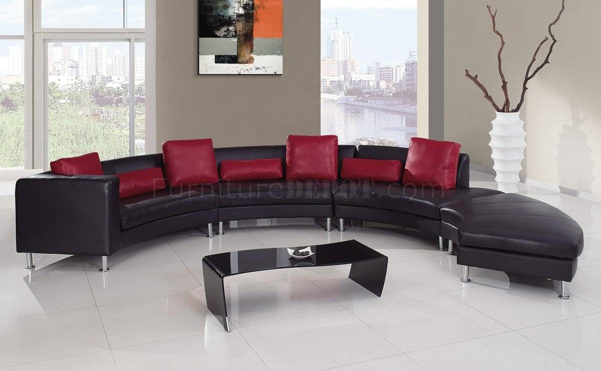 919 Sectional Sofa In Black&red Leatherglobal inside Red Black Sectional Sofa (Image 6 of 30)