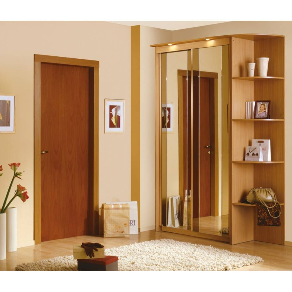 $928.50 Baikal Mirror Sliding Doors Wardrobe With Corner Shelf in Corner Mirror Wardrobes (Image 2 of 15)