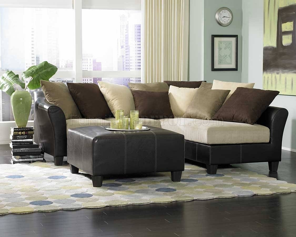 9917 Carrington Sectional Sofa In Beige Microfiberhomelegance with regard to Leather and Suede Sectional Sofa (Image 2 of 25)