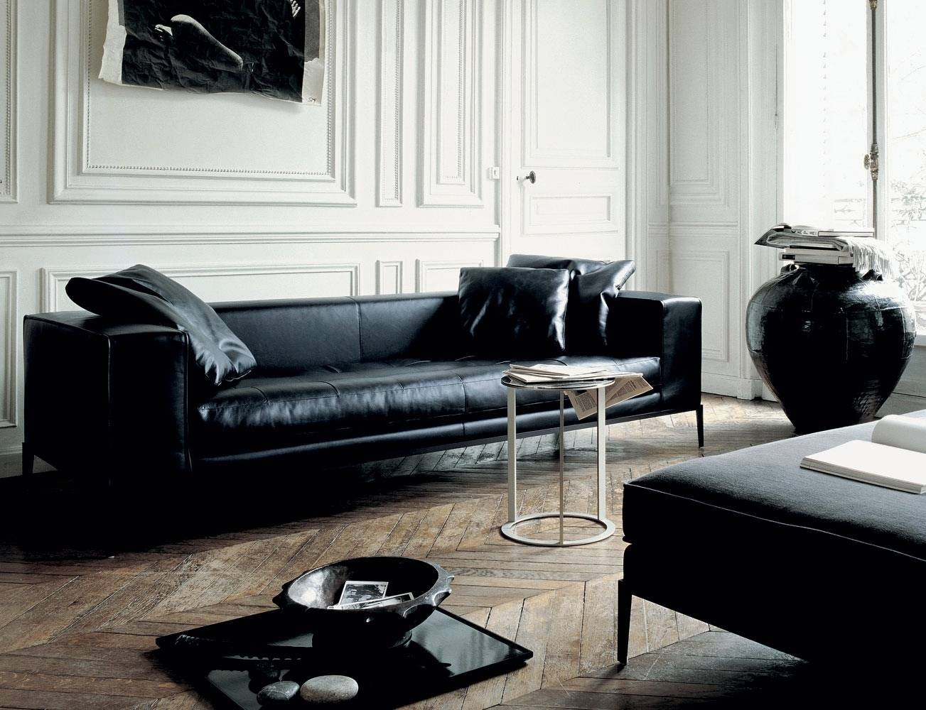 A Beautiful Room With Contemporary Leather Sofa — Home Design intended for Long Modern Sofas (Image 2 of 30)