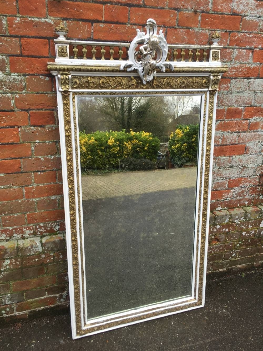 A Fabulous Large Antique 19Th Century French Carved Wood & Gesso for Cream Antique Mirrors (Image 1 of 25)