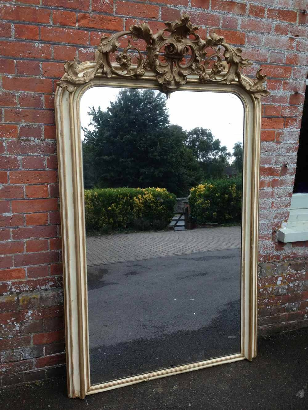 A Fabulous Large Antique 19Th Century French Original Cream & Gilt inside Cream Antique Mirrors (Image 2 of 25)