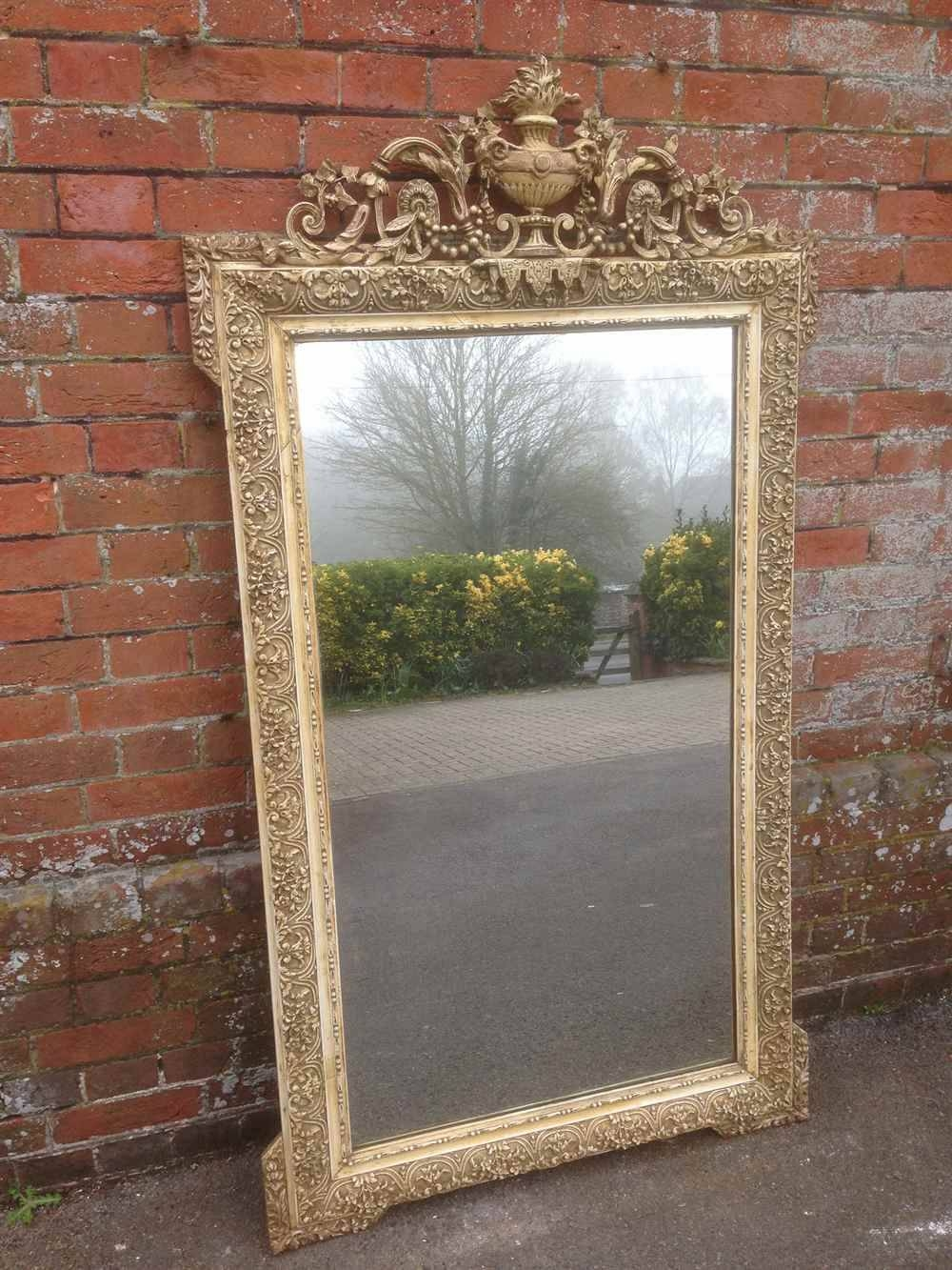 A Fabulous Large Antique 19Th Century French Original Cream Mirror with Cream Antique Mirrors (Image 3 of 25)