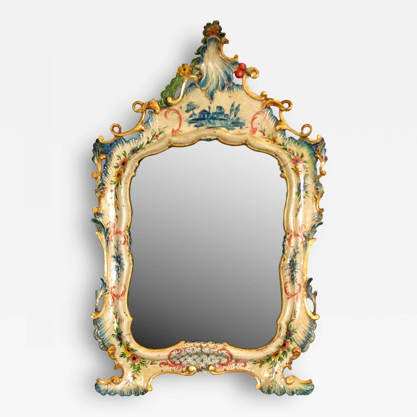 A Fine Venetian Lacquered Toilette Or Dressing Table Mirror for Venetian Table Mirrors (Image 1 of 25)