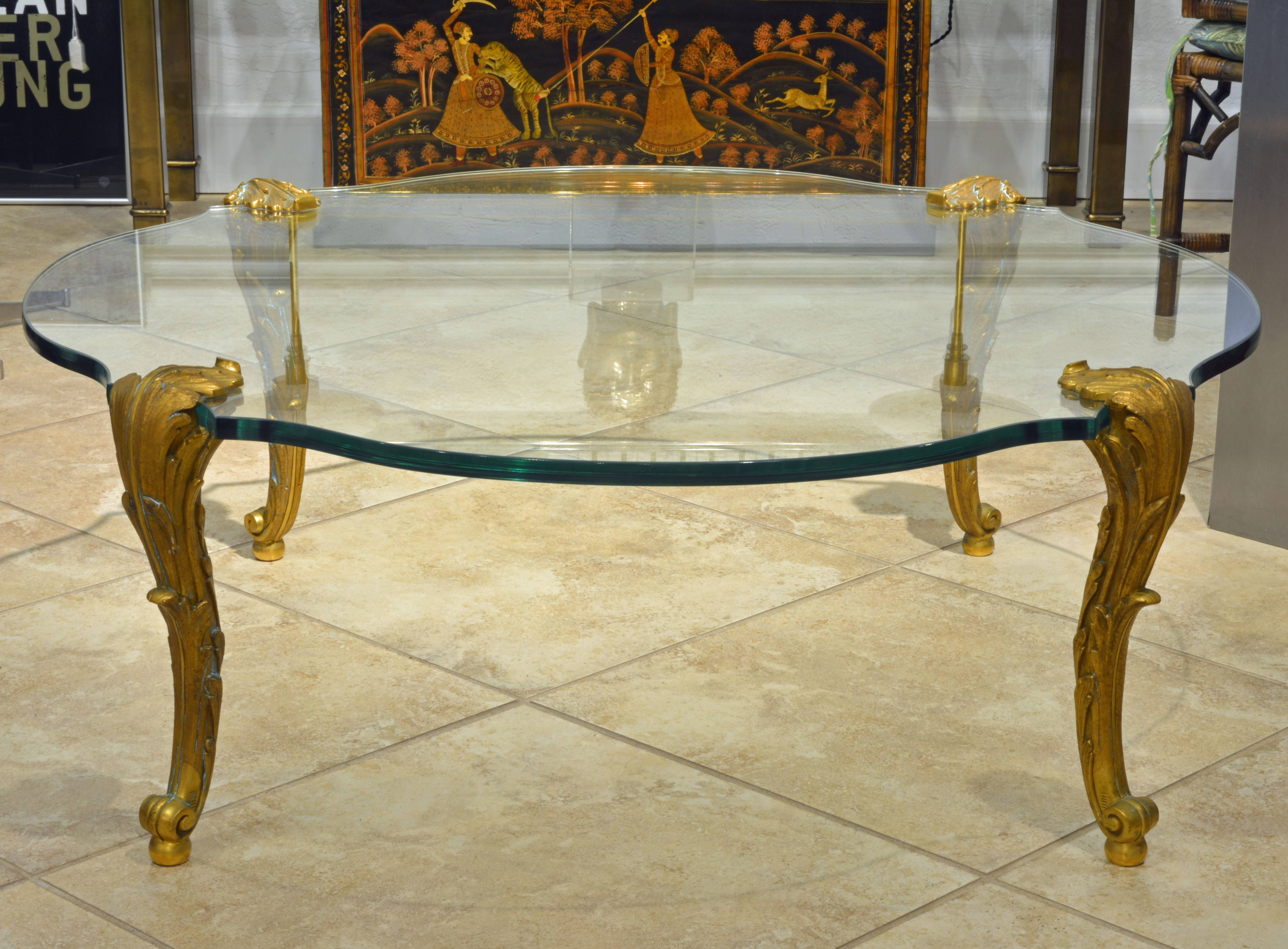 A Great P. E. Guerin Ny Glass Top And Louis Xv Style Gilt Bronze with regard to Bronze Coffee Table Glass Top (Image 1 of 30)