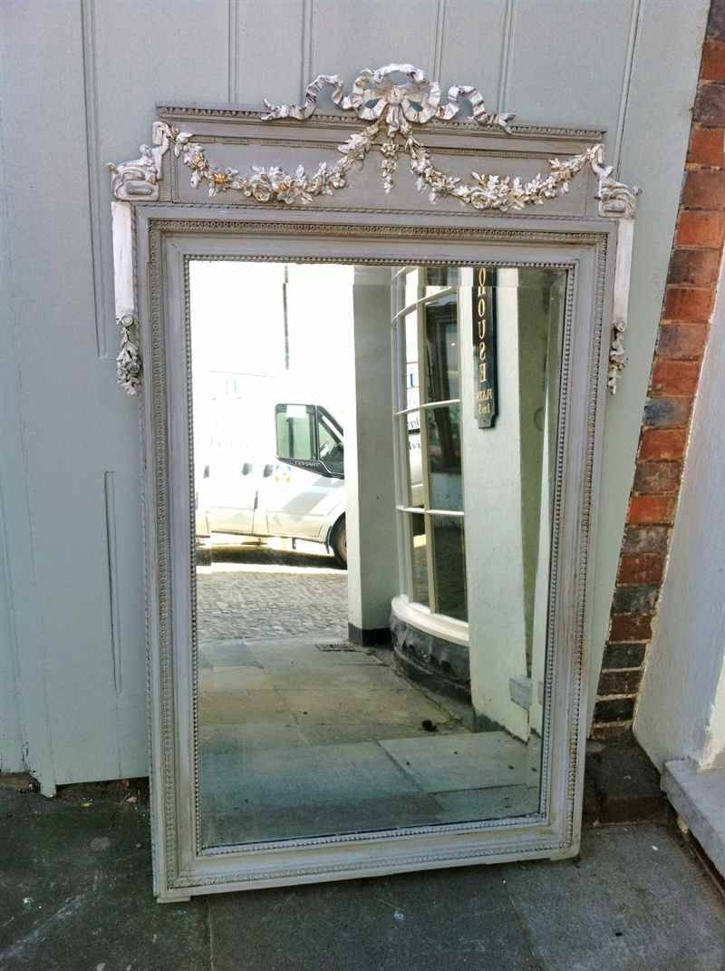 A Highly Decorative Antique French Ribbon Painted Mirror with French Mirrors (Image 5 of 25)