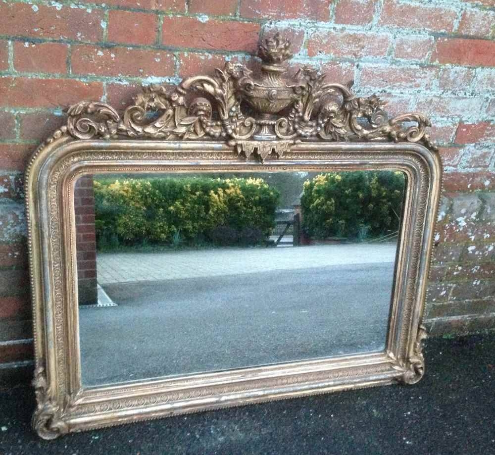 A Highly Unusual And Very Useful Size Early Antique 19Th Century regarding Antique Gilt Mirrors (Image 1 of 25)