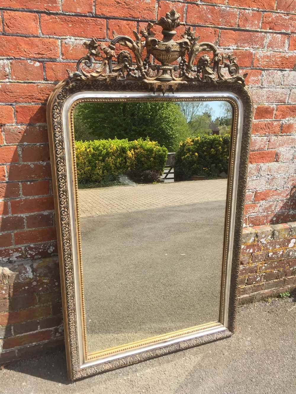 A Highly Unusual Large Antique 19Th Century French Carved Wood throughout Silver French Mirrors (Image 12 of 25)