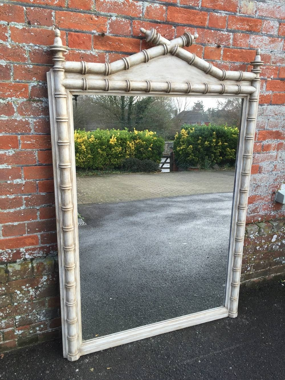 A Highly Unusual Large Antique 19Th Century French Painted Carved inside French Floor Standing Mirrors (Image 9 of 25)