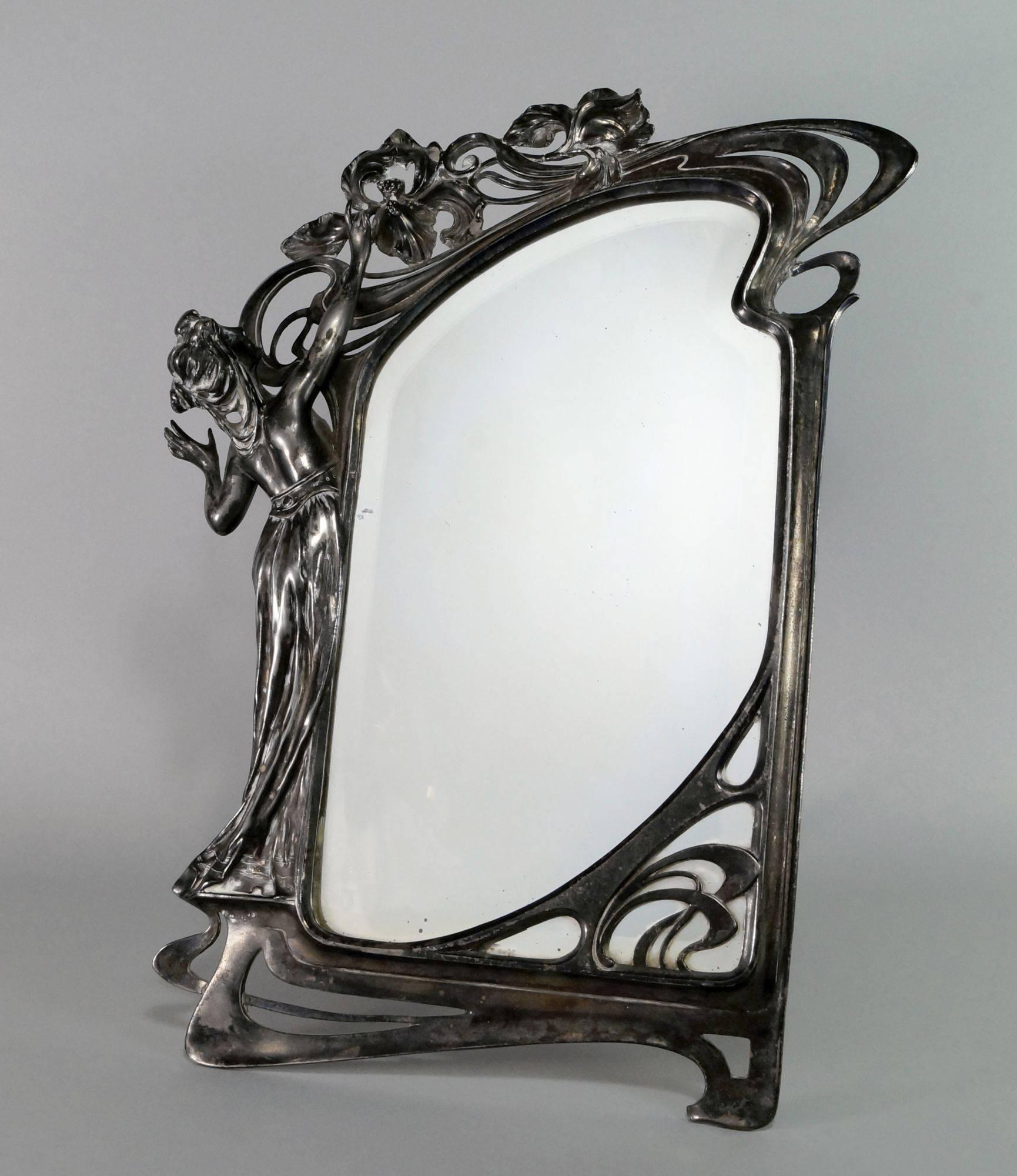 A Jugendstil Pewter Strut Mirror, Decorated With An Art Nouveau throughout Art Nouveau Mirrors (Image 4 of 25)