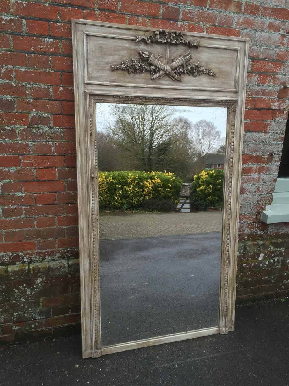 A Large Antique 19Th Century French Carved Wood & Gesso Painted Within Antique Large Mirrors (View 23 of 25)