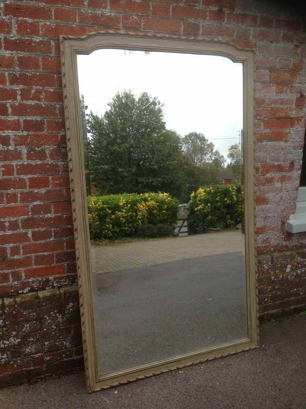 A Large Antique 19Th Century French Carved Wood Painted Mirror with regard to French Floor Standing Mirrors (Image 10 of 25)