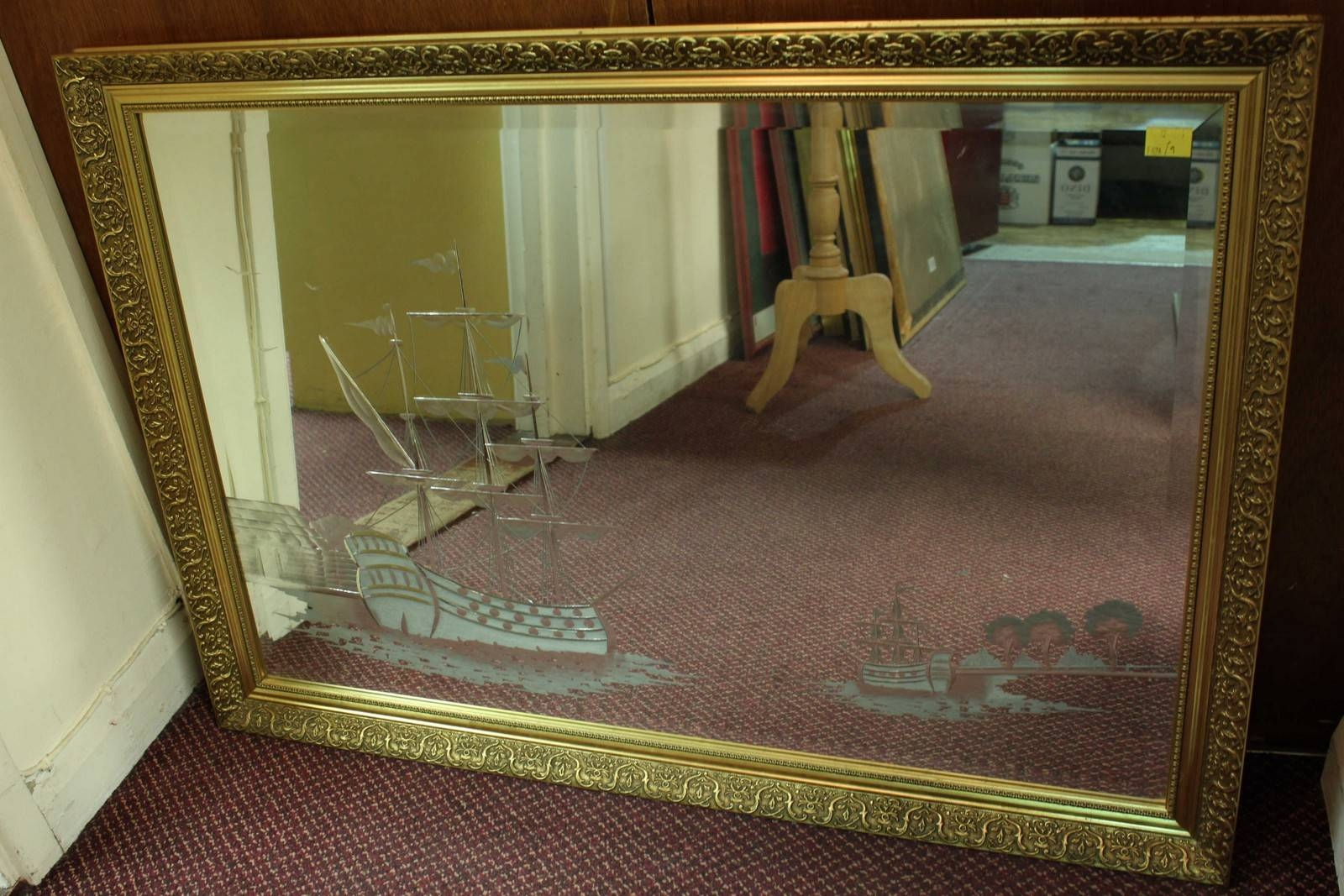 A Large Gilt Framed Wall Mirror, Engraved With A Maritime Scene Of inside Gilt Edged Mirrors (Image 3 of 25)
