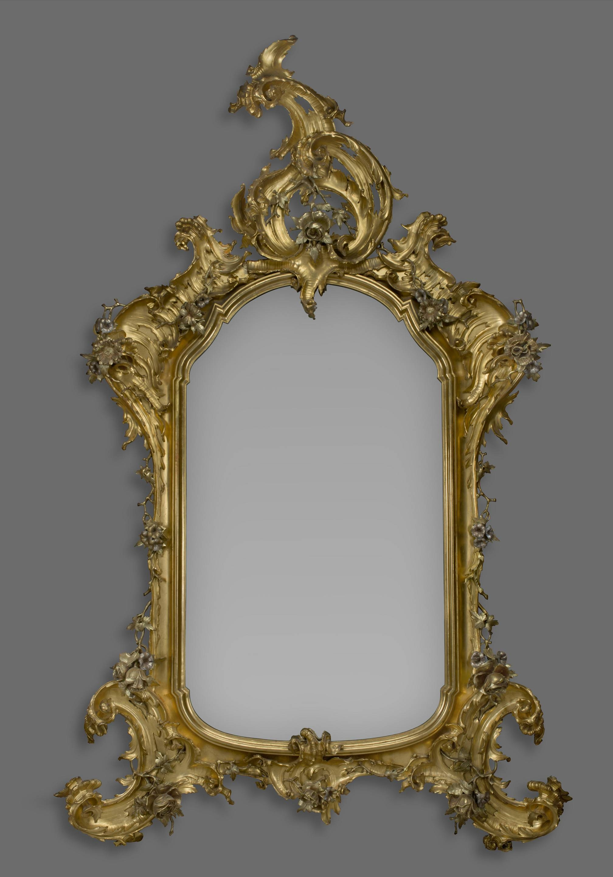 A Large Rococo Style Carved Giltwood And Silver Gilt Mirror (C pertaining to Gold Rococo Mirrors (Image 11 of 25)