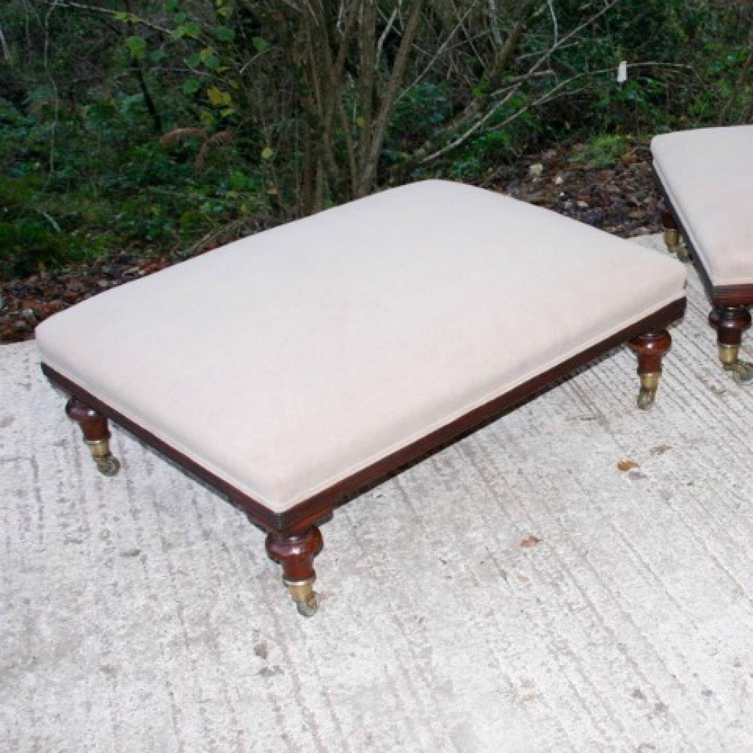 A Pair Of Large Footstools C1890 In Warehouse Seating pertaining to Large Footstools (Image 3 of 30)