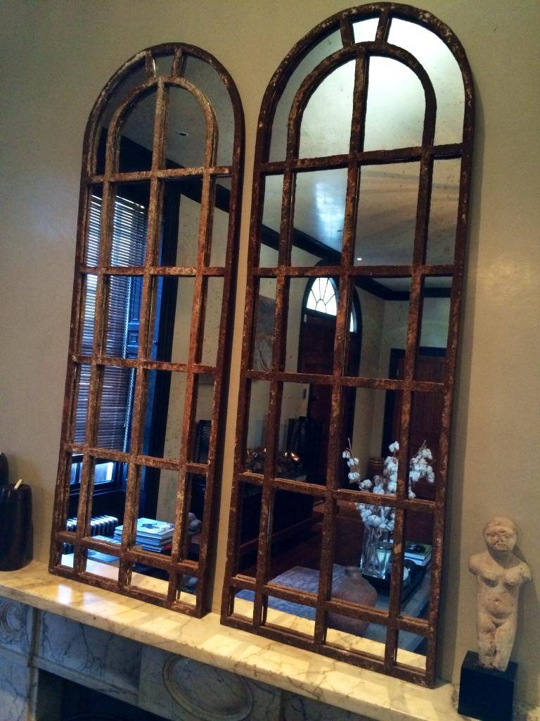 A Pair Of Slim Arch Architectural Reclaimed Window Mirrors Pair with regard to Antique Arched Mirrors (Image 6 of 25)
