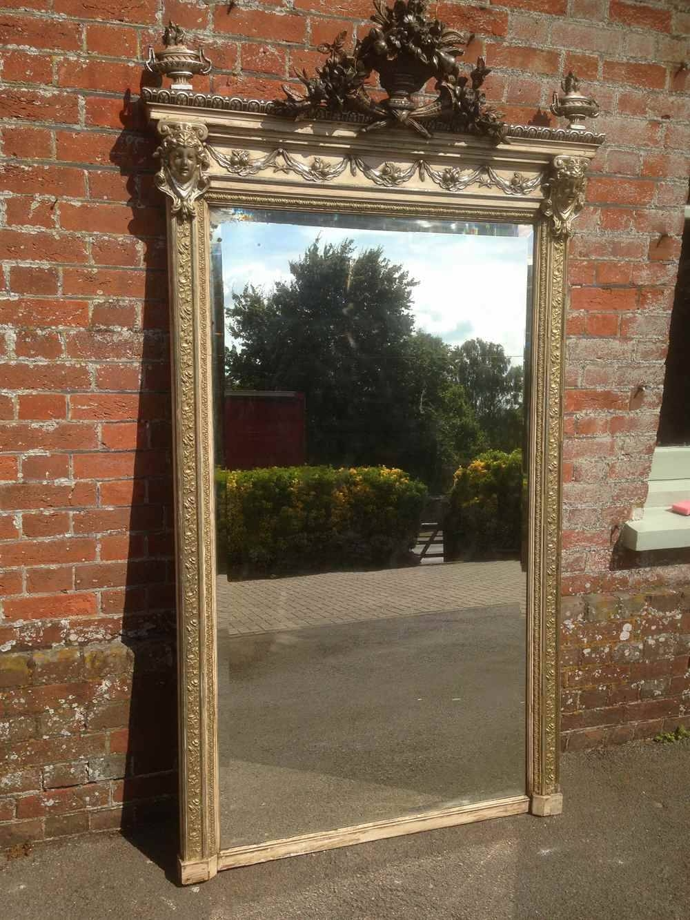 A Stunning Very Decorative Very Large Antique 19Th Century French in Cream Standing Mirrors (Image 2 of 25)